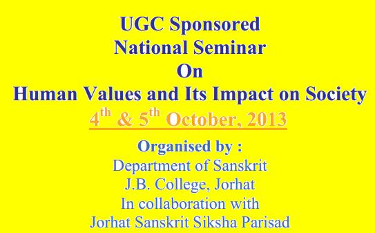 Value Based Education UGC Sponsored National Seminar On Human Values and its impact on Society