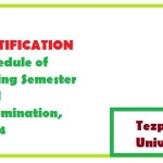 Schedule of Spring Semester End Examination, 2014 of Tezpur University